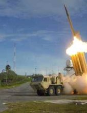 A Terminal High Altitude Area Defense (THAAD) interceptor is launched during a successful intercept test, in this undated handout photo provided by the U.S. Department of Defense, Missile Defense Agency. U.S. Department of Defense, Missile Defense Agency/Handout via...